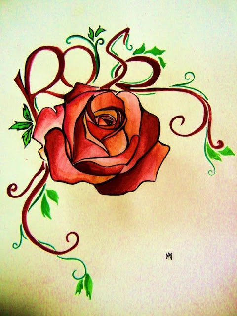 Beautiful Rose Tattoo Flash