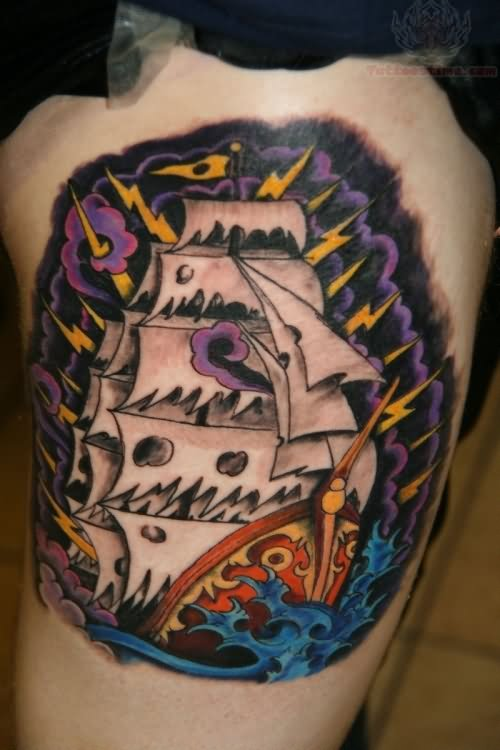 Beautiful Sailing Pirate Ship Tattoo