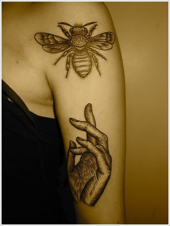 Bee And Hand Tattoos On Arm