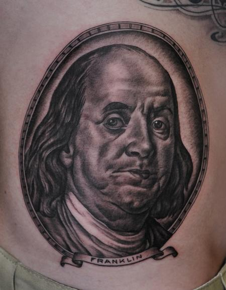 Ben Franklin Portrait Circle Tattoo