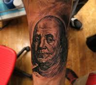 Benjamin Franklin Portrait Tattoo On Lower Arm