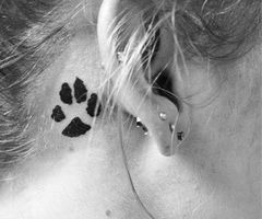 Best Black Paw Print Tattoo Behind Ear