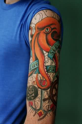 Best Colorful Nautical Tattoos On Sleeve For Boys
