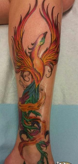 Best Colorful Phoenix Tattoo On Leg