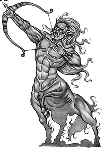 Best Grey Sagittarius Zodiac Tattoo Version