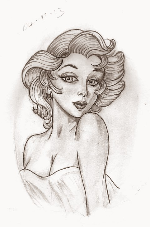 Best Pin Up Girl Tattoo Sketch