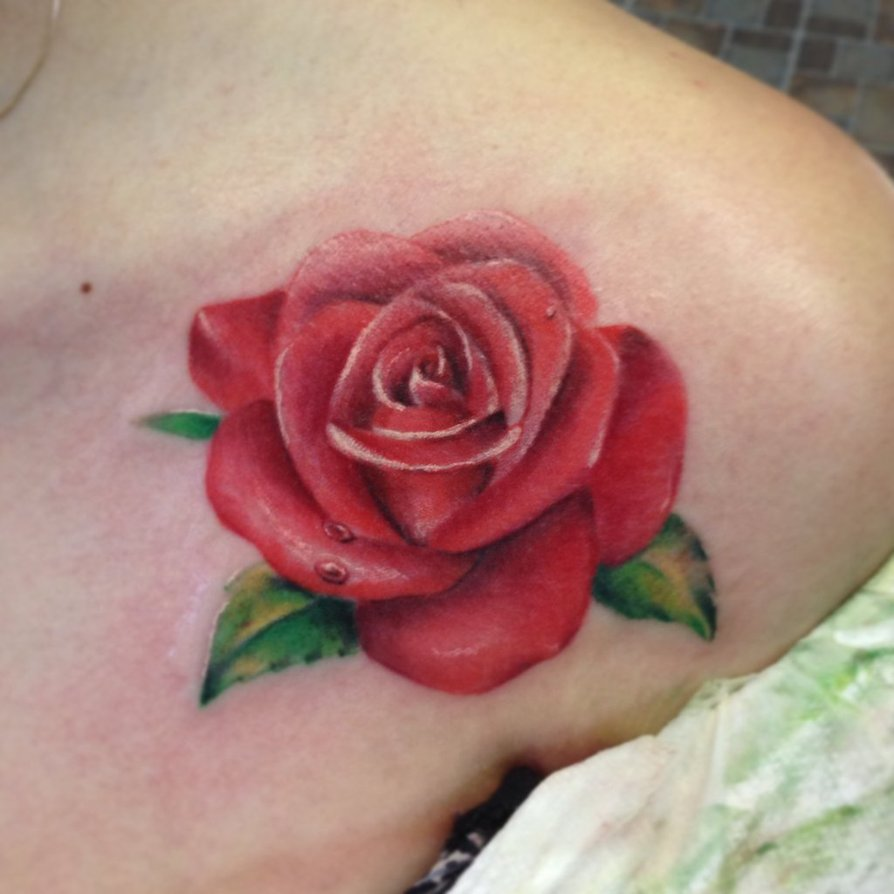 Best Realistic Red Rose Tattoo