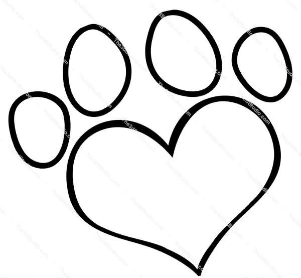 Big Black Outline Heart Paw Print Tattoo Stencil
