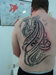 Big Size Tribal Phoenix Tattoo On Back