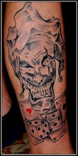 Big Teeth Joker Dice Pair And Playing Card Tattoos