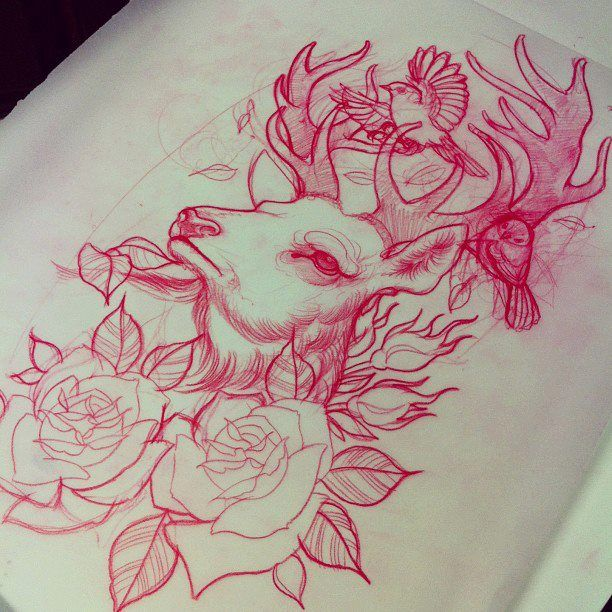 Bird Deer Roses Tattoo Sketch