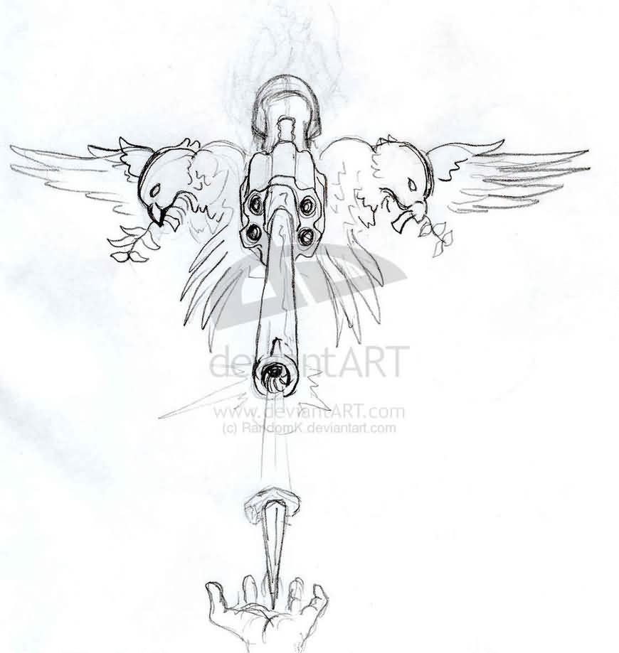 Birds And Pistol Tattoos Sketch