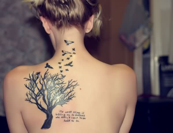 Birds Flying From Tree And Writing Tattoos
