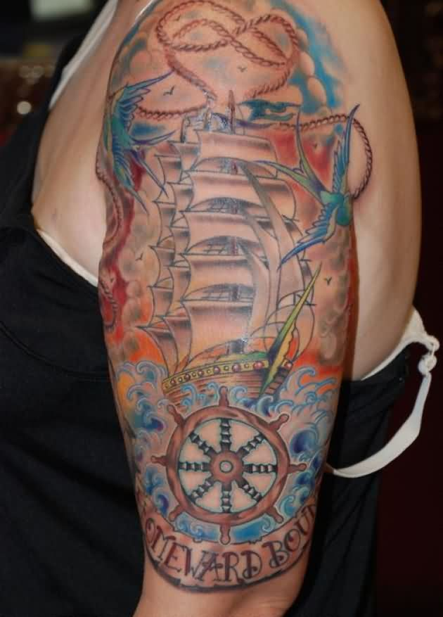 Birds Pirate Ship And Compass Tattoos On Arm