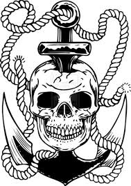 Black Anchor In Skull Tattoo Design