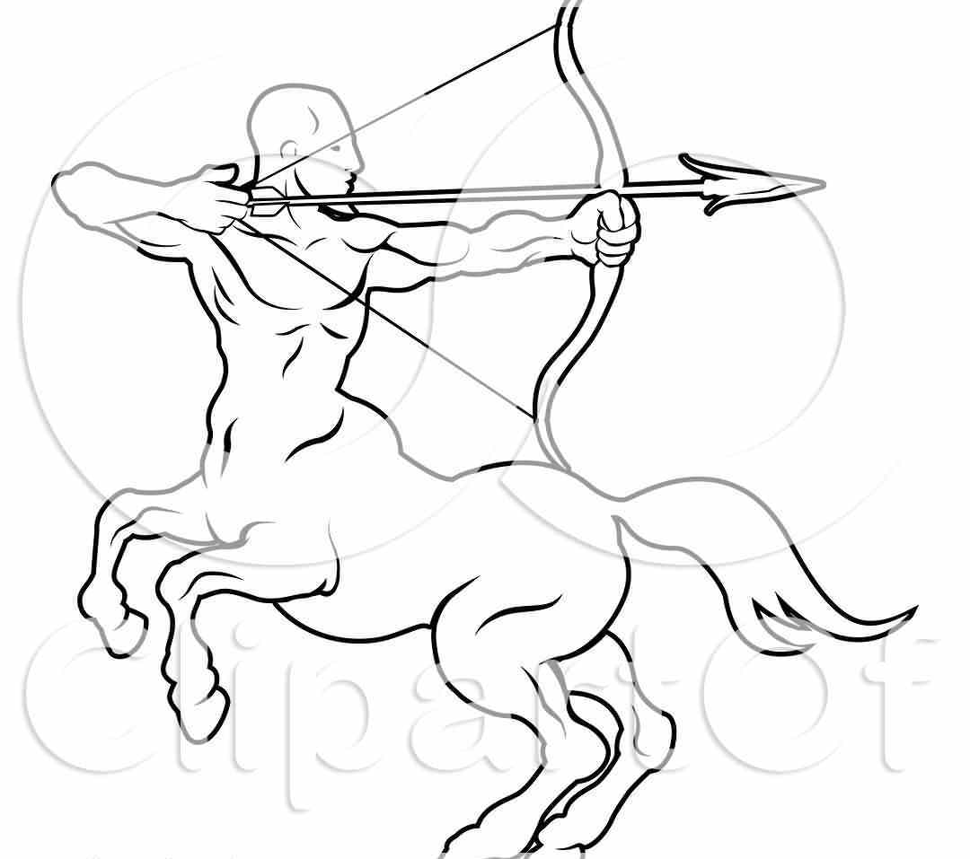 Black And White Line Drawing Of The Sagittarius Centaur Archer Zodiac Astrology Sign Tattoo Design