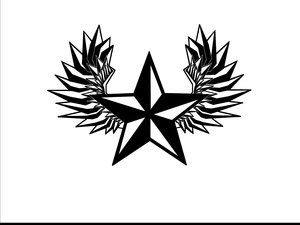 Black And White Nautical Star With Wings Tattoo Design