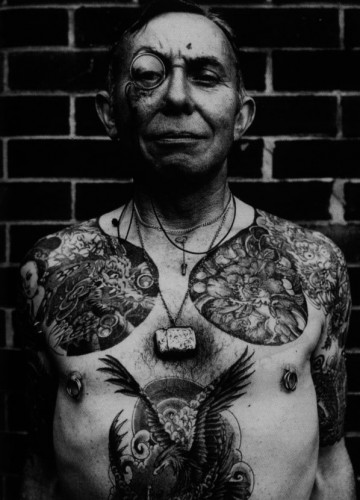 Black And White Old People's Body Tattoos