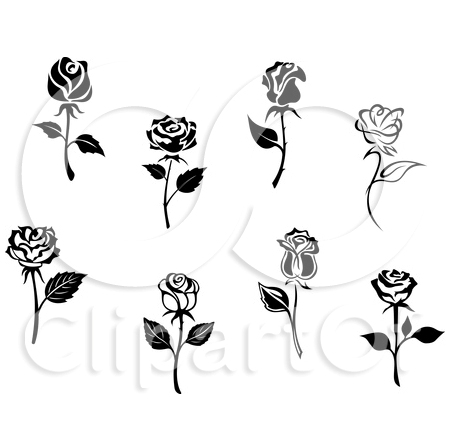 Black And White Rose Flowers Tattoo Designs