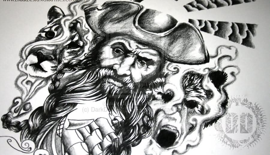 Black Beard Custom Pirate Tattoo Design