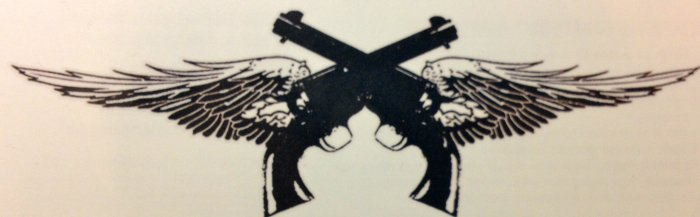Black Crossed Pistol With Wings Tattoo Poster