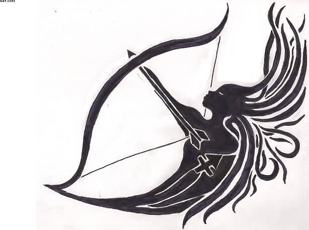 Black Female Sagittarius Tattoo Design