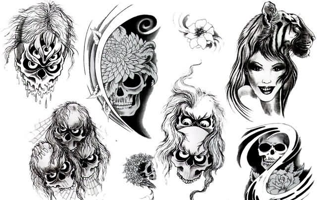 Black Grey  Skull Tattoos Sheet