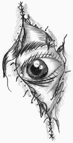 Black-Grey Stitched Eye Tattoo Sketch