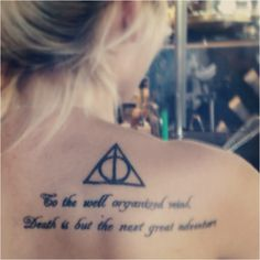 Black Harry Potter Symbol Tattoo Behind Shoulder