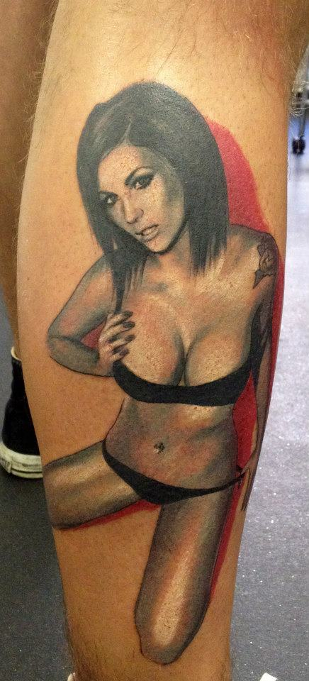Black Lingerie Pin Up Girl Tattoo