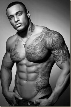 Black Muscular People With Tattoos