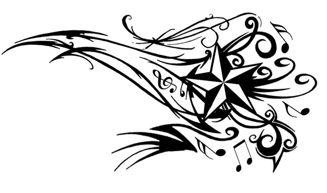 Black Music Notes And Nautical Star Tattoo Design