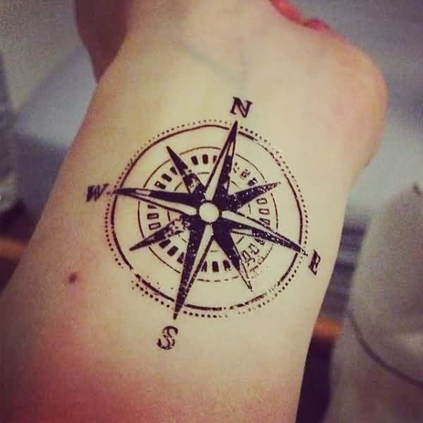 Black Nautical Compass Wrist Tattoo