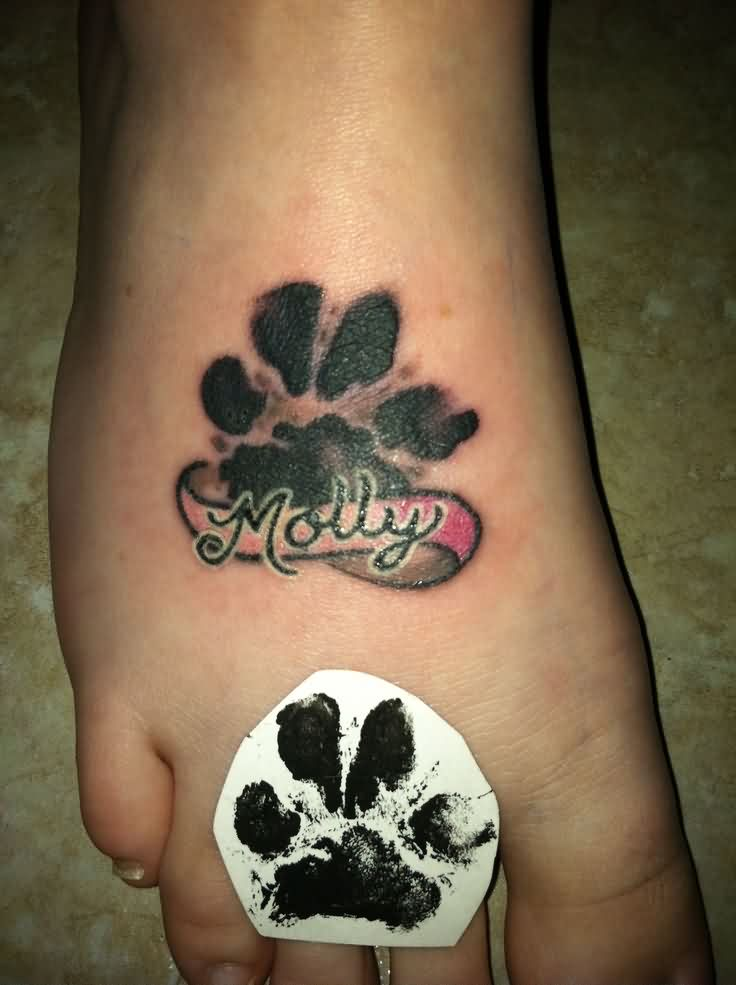 Black Paw Print And Banner Tattoos On Foot
