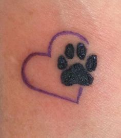Black Paw Print On Outline Heart Tattoo