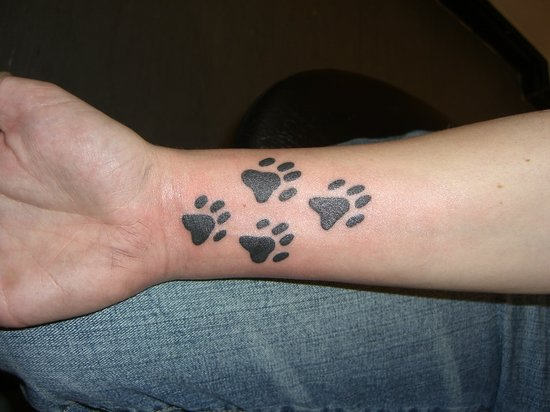 Black Paw Print Tattoos On Inner Wrist