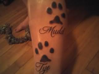 Black Paw Print With Name Tattoos