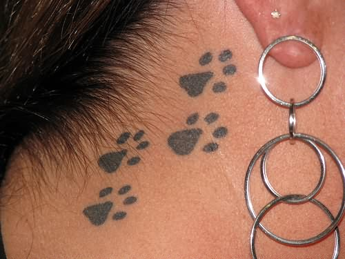 Black Paw Tattoos And Ring Earrings