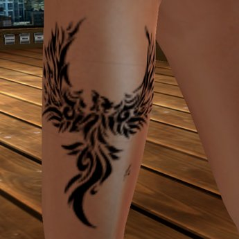 Black Phoenix Leg Tattoo Design