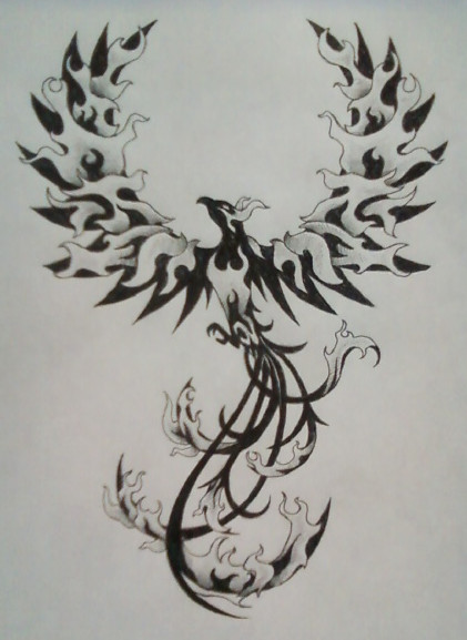 Black Phoenix On Fire Tattoo Design