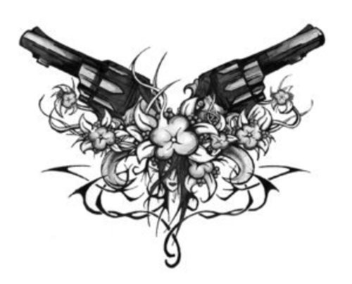 Black Pistol Flowers Tattoo Design For Lowerback