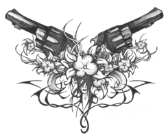 Black Pistols Flowers And Tribal Tattoo Design For Lowerback