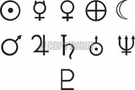 Black Planetary Symbol Tattoos Set