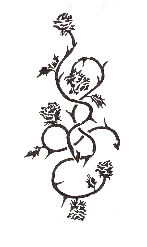 Black Rose Vines Tattoos Stencil