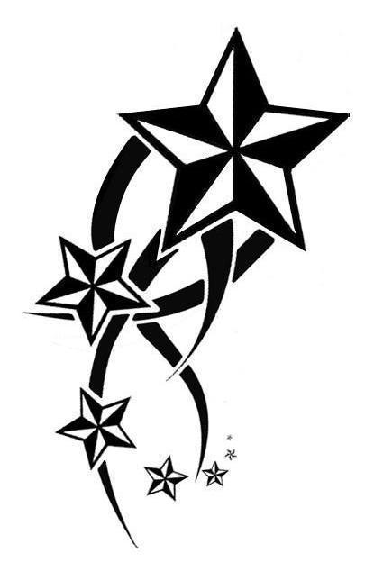 Black Tribal And Nautical Star Tattoo Designs