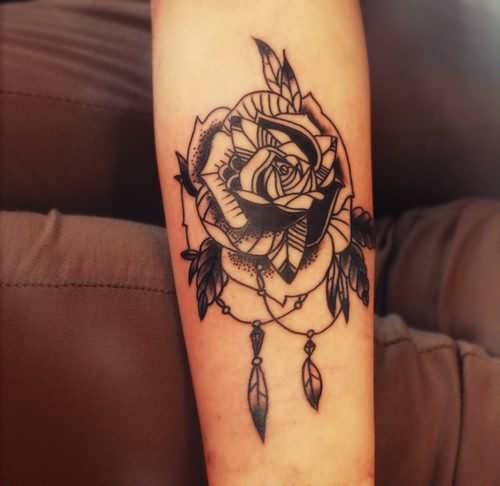 Black-White Rose Tattoo
