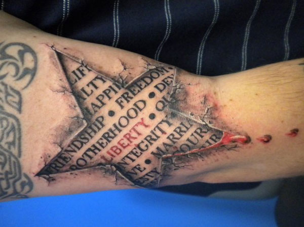 Bleeding Star 3D Tattoo On Arm