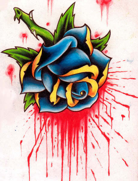 Blood And Blue Rose Tattoo Design