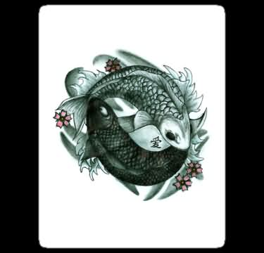 Blossoms And Koi Fish Pisces Tattoos Sticker