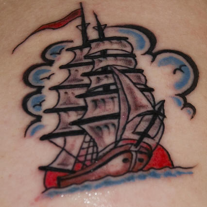 Blue Clouds And Pirate Ship Tattoos